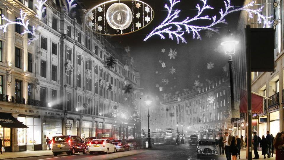 A digital composite image depicts a comparison of London at Regent Street in 1955 (Archive, Keystone) and at 2014 during Christmas time. The 1955 Regent street is decorated with snow crystal stars to give the effect of a snowstorm while the newer photo shows shoppers along the street. While some Christmas traditions dating to the Victorian era are still alive, others more recent have also become part of festivities over the decades. (Peter Macdiarmid/Getty Images)
