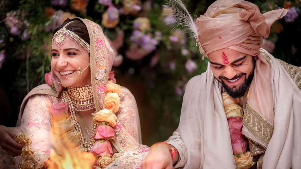 Indian cricketer Virat Kohli and Bollywood actress Anushka Sharma performing their wedding rituals in Buoncovento near Siena on Monday. (Yash Raj Films / AFP)