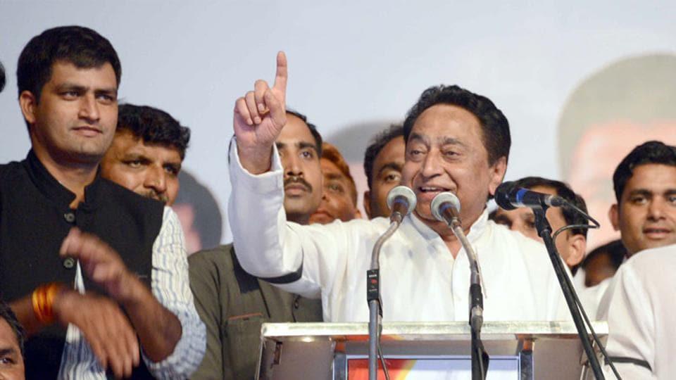 Senior Congress leader Kamal Nath addressing party workers in Jabalpur on Friday.