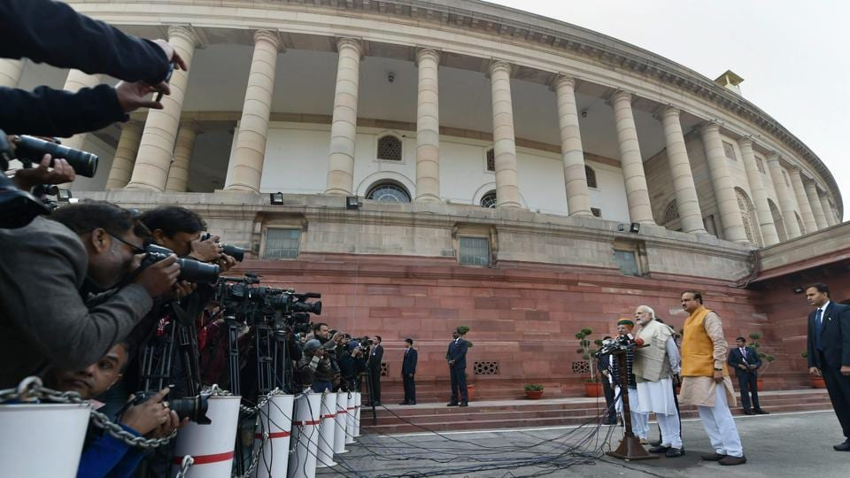 PM Narendra Modi addresses the media on the first day of the Parliament's winter session in New Delhi on Friday. (PTI)