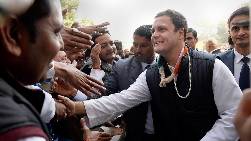 Rahul Gandhi receives greetings from supporters after taking charge as Congress president during an event held at the lawns of the All India Congress Committee (AICC) in New Delhi on Saturday.