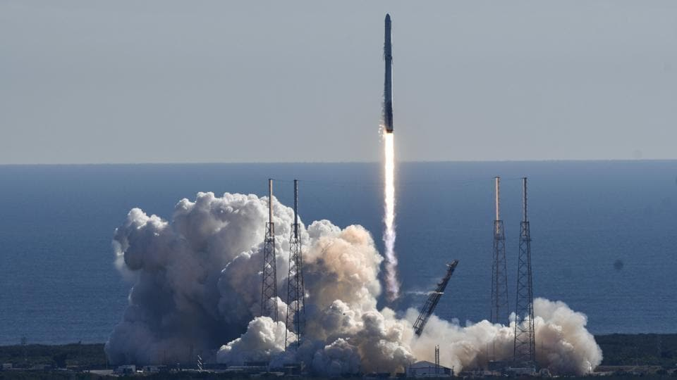 A SpaceX Falcon 9 rocket lifts off from newly refurbished Pad 40 at Cape Canaveral Air Force Station, in Cape Canaveral, Florida.