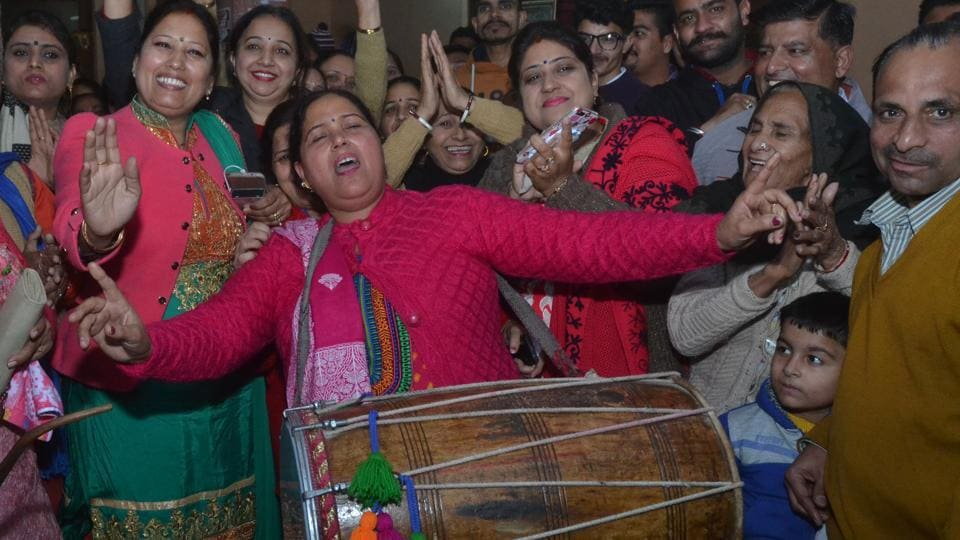 Congress candidate Sunita (left) celebrating MC poll victory with supporters in Jalandhar on Sunday.