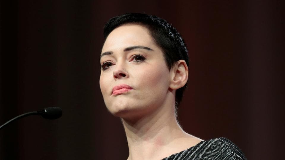 Rose McGowan addresses the audience during the opening session of the three-day Women's Convention at Cobo Center in Detroit, Michigan, U.S., October 27, 2017.