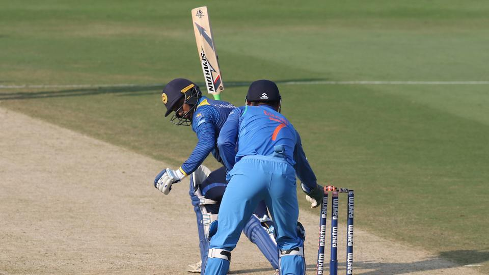 MS Dhoni's magnificent stumping to get rid of Tharanga (95) left the visitors tottering.  (BCCI )