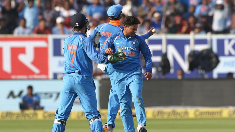Kuldeep Yadav, who took 3-42, got Niroshan Dickwella in the 28th over.  (BCCI )