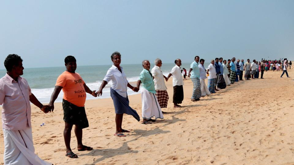 Family members of various fishermen, who are still missing following cyclone Ockhi, stage a protest demanding central and state government agencies step up search operations in Kanyakumari.