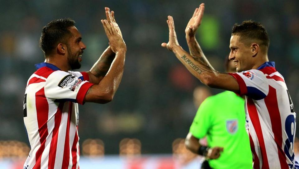 Zequinha and Robin Singh of ATK celebrate the latter's winning goal during the Indian Super League match between Mumbai City FC and ATK held at the Mumbai Football Arena, Mumbai on 17th December 2017.