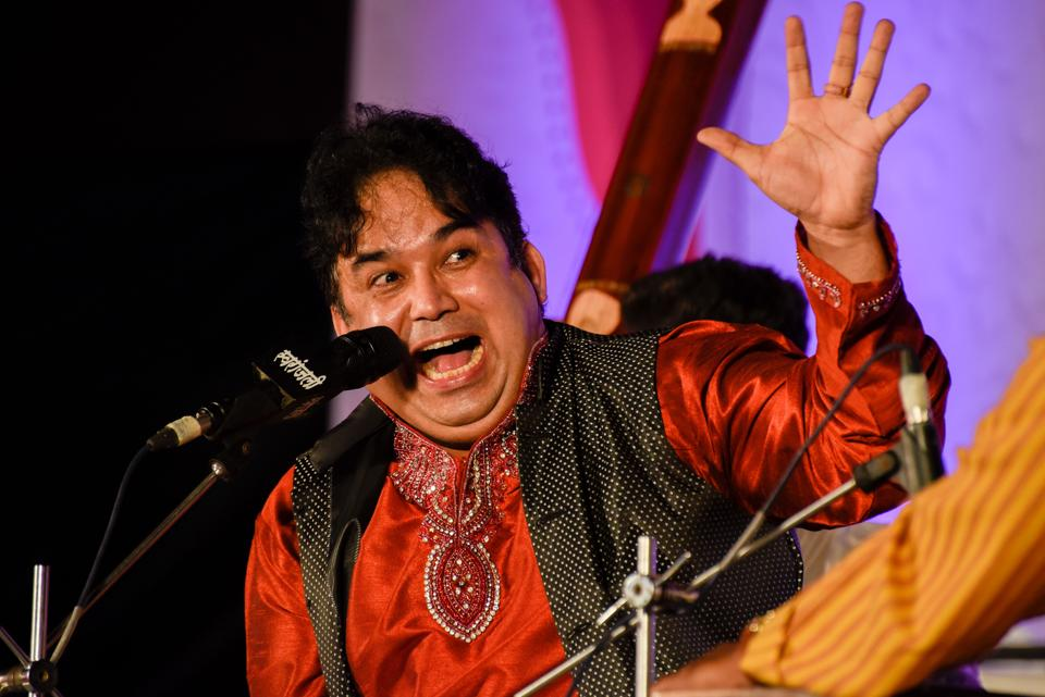 Pune, India - Dec. 13, 2017: Dr. Vijay Rajput singing on the first day of 65th edition of Sawai Gandharva Bhimsen Mahotsav in Pune, India, on Wednesday, December 13, 2017. (Photo by Sanket Wankhade/HT PHOTO)