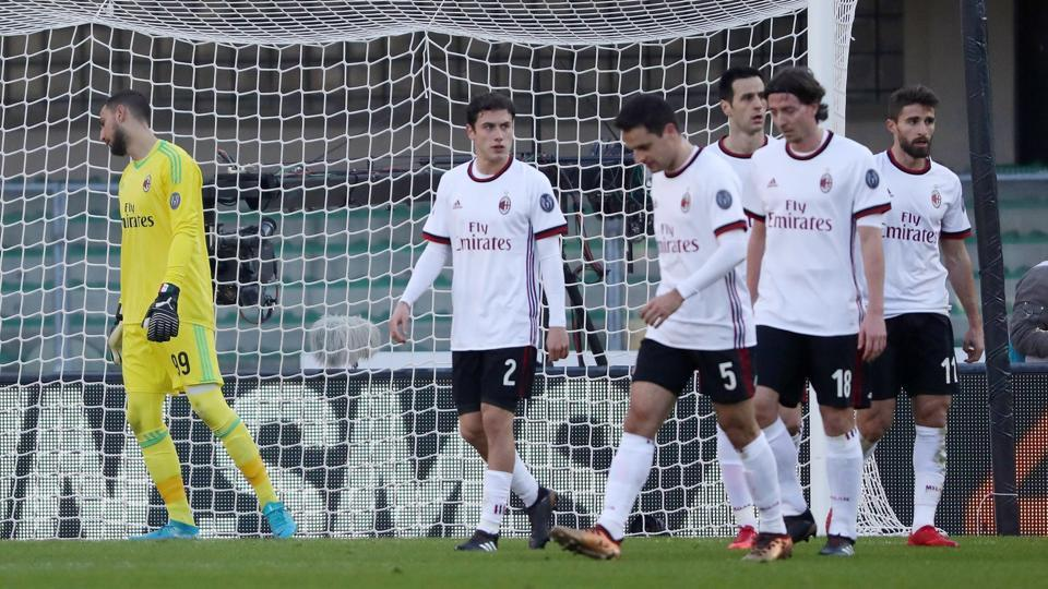 ACMilan's season went from bad to worse as they were defeated 3-0 by Verona in a Serie A encounter.