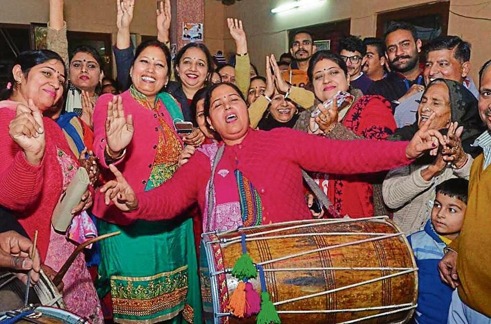 Congress supporters celebrating MC poll victory in Jalandhar on Sunday.