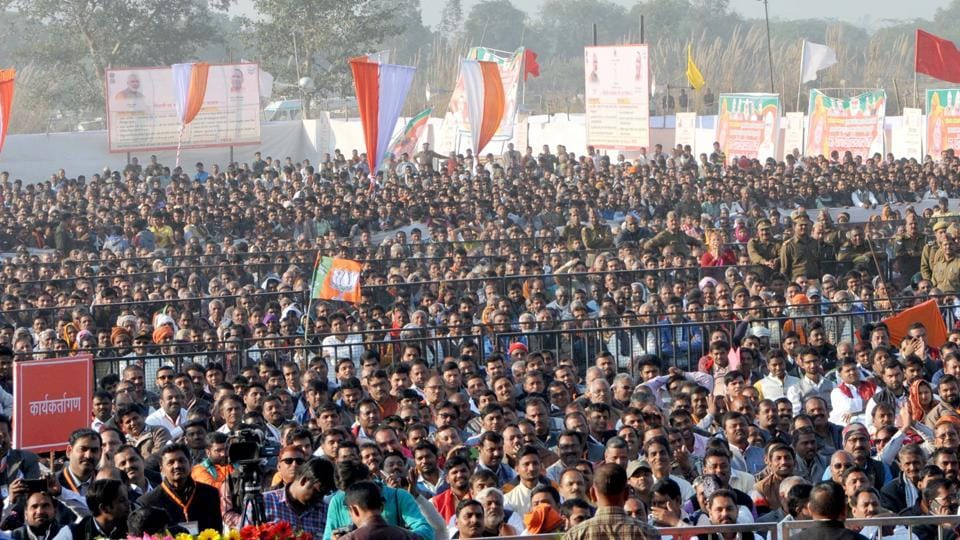 Crowd at the mega camp in Unnao district.