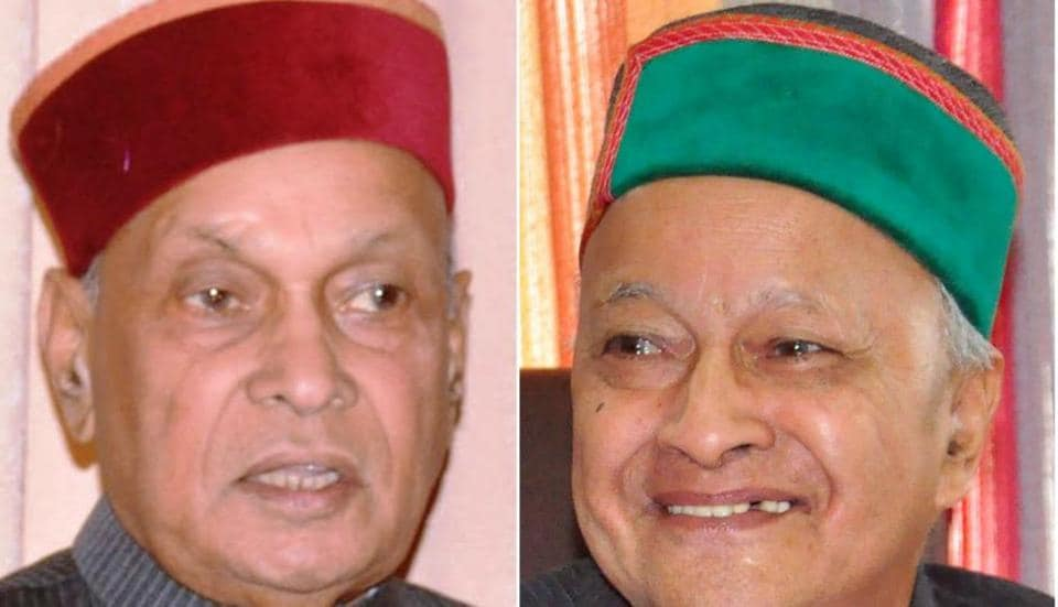 BJP's Prem Kumar Dhumal (left) and Congress leader Virbhadra Singh (right)
