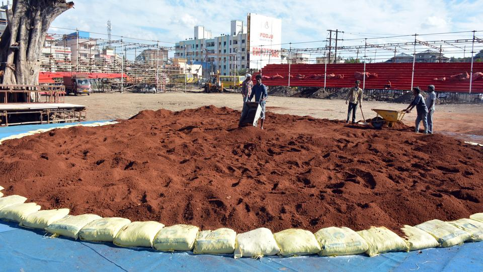 Preparation for the Bhugaon event is underway and the venue is prepping to host both types of wrestling—mud and mat—with a seating capacity of 40,000 spectators.