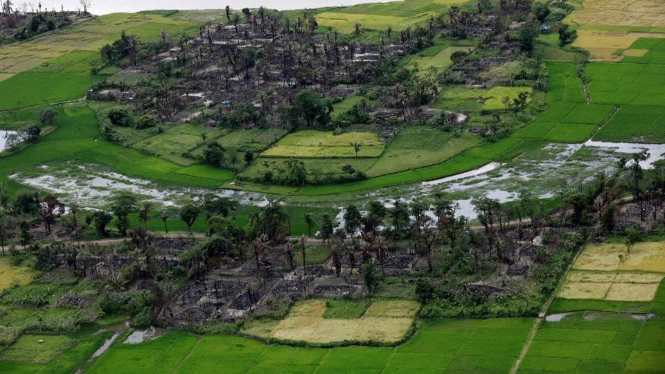 Aerial view of a burned Rohingya village near Maungdaw, north of Rakhine state, Myanmar September 27, 2017.