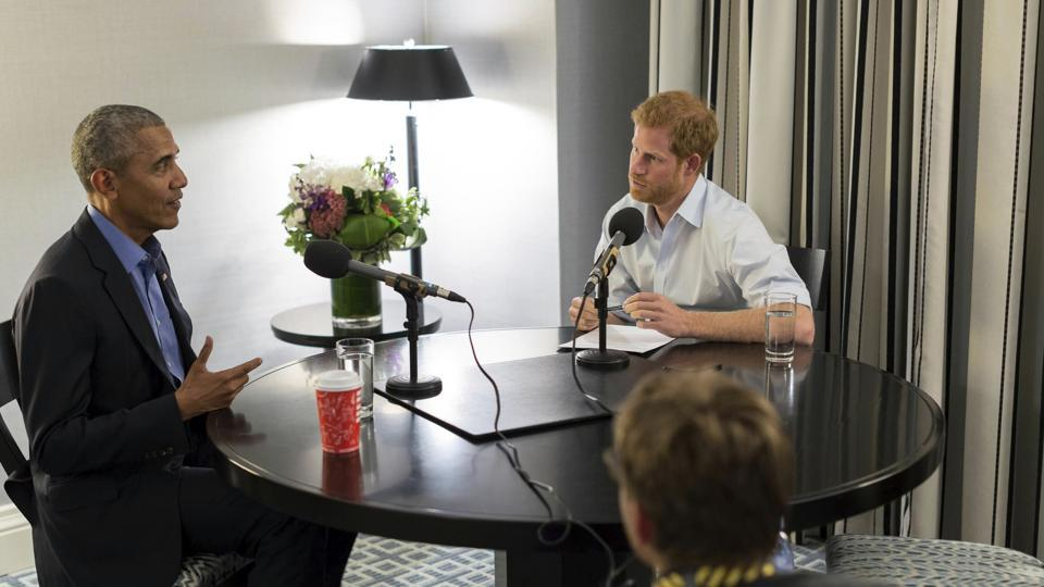 Britain's Prince Harry, right, interviews former US President Barack Obama as part of his guest editorship of BBC Radio 4's Today programme which is to be broadcast on the December 27, 2017.(Handout from Kensington Palace courtesy of The Obama Foundation)