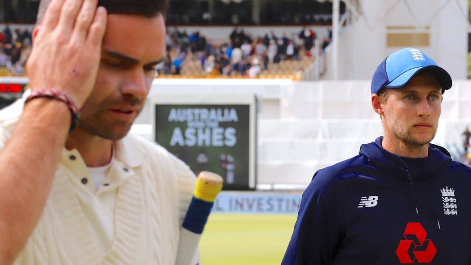 England cricket team captain Joe Root and teammate James Anderson walk out of the ground after losing the third Ashes Test against Australia cricket team in Perth on Monday.