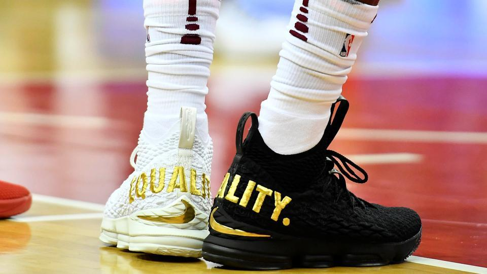 Cleveland Cavaliers forward LeBron James wears Equality shoes against the Washington Wizards during the first half at Capital One Arena in Washington on Sunday.