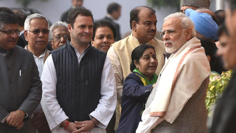 Prime Minister Narendra Modi and Rahul Gandhi with other senior politicians during the anniversary of 2001 Parliament Attack at Parliament House in New Delhi on December 13, 2017.