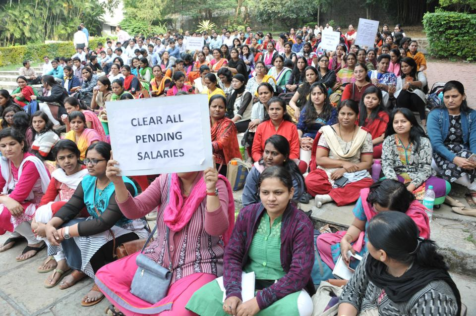 sinhgad institute,staff strike,salary pending