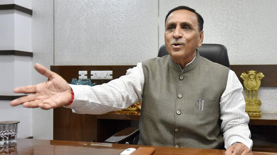 Gujarat Chief Minister Vijay Rupani during an interview with PTI in Gandhinagar.