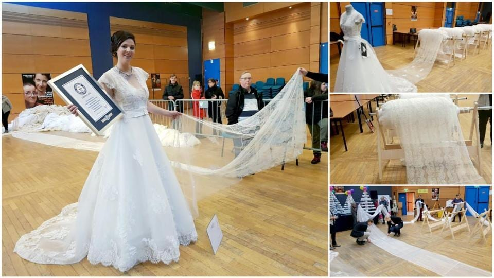 Photos: World\'s longest wedding dress train is 8km long and can ...