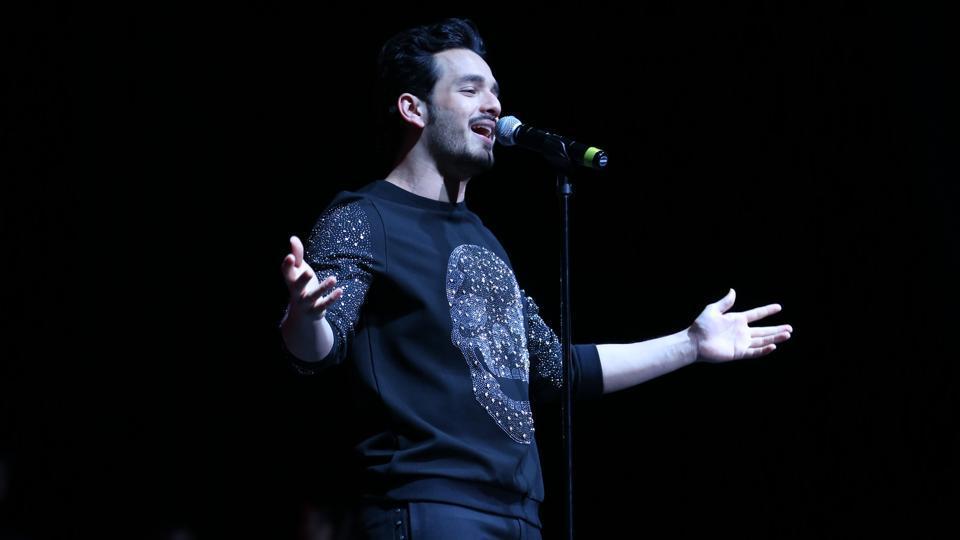 Akhil Akkineni performing during his Hello tour in USA.