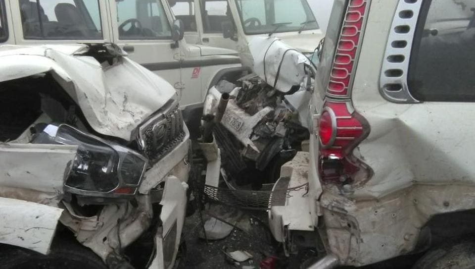 Lucknow-Agra Expressway,Unnao,Cars collision