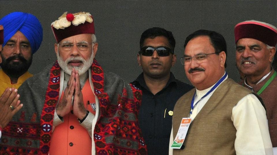 Prime Minister Narendra Modi along with Union health minister JP Nadda during the party's campaign rally at Dhaulla Kuan in Sirmour, Himachal Pradesh, on November 2, 2017.