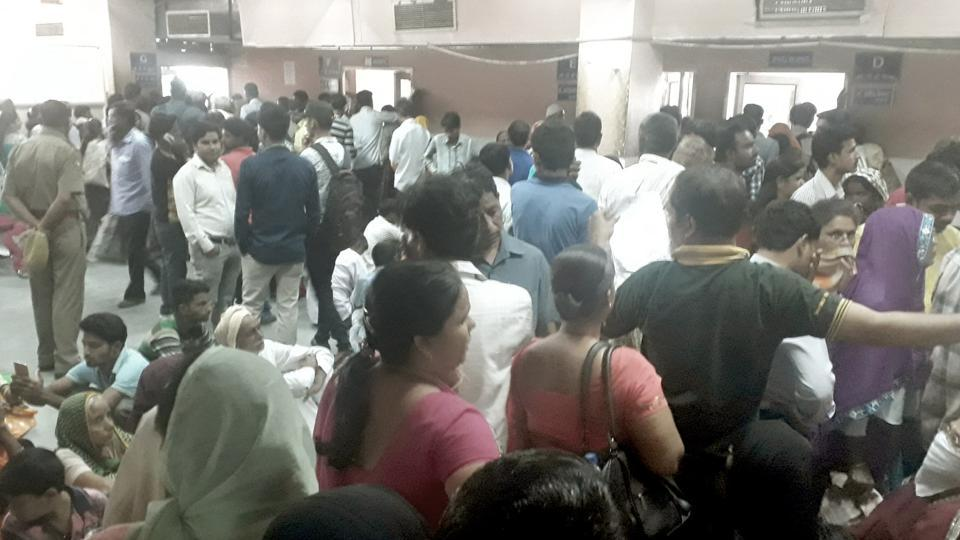 Patients wait for doctors at SMS Hospital on Tuesday.