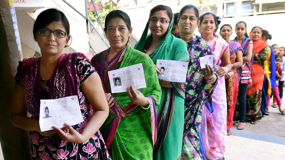 Women at a re-polling booth in Daskroi constituency, Ahmedabad, December 17