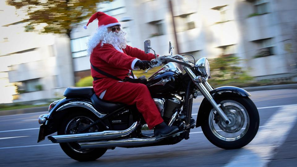 Santa takes his cruiser out for a spin during the