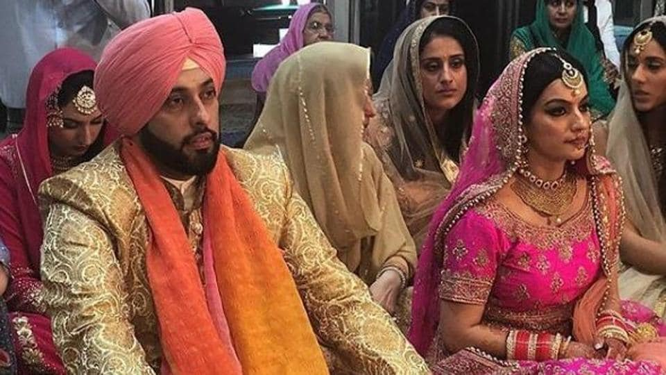 Sangram Singh with his wife Gukiran Kaur at their wedding.