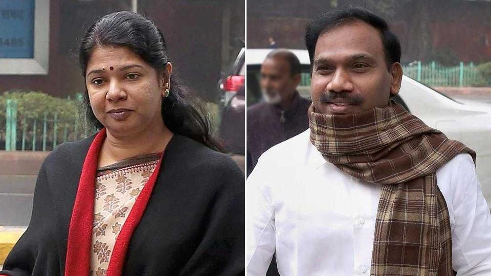 DMK member Kanimozhi and former telecom minister A Raja arrive at the Patiala House court in connection with the 2G scam case. (PTIphotos)