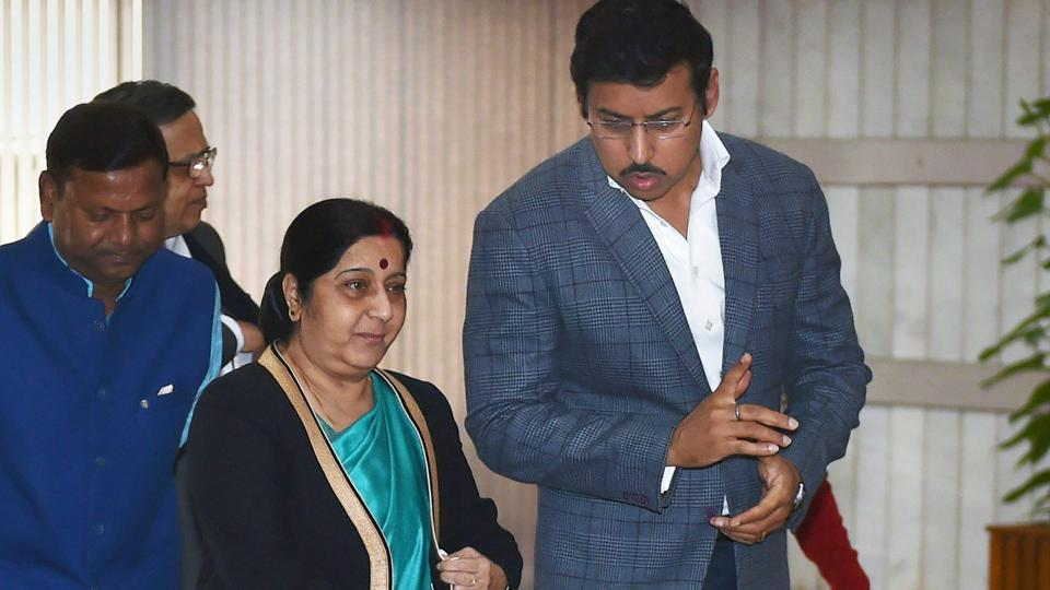 External affairs minister Sushma Swaraj and sports minister Rajyavardhan Singh Rathore arrive for the BJP Parliamentary party meeting, in New Delhi.