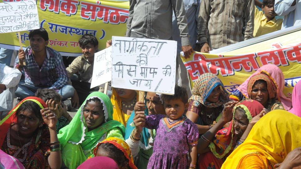 The Pakistani Hindu refugees during a protest in Jaipur to demand Indian citizenship.