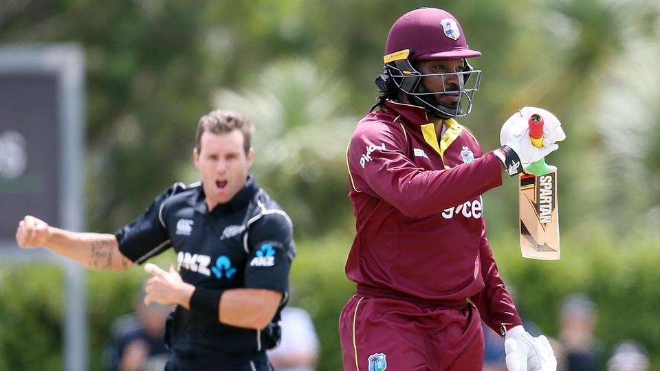 Chris Gayle was dismissed by Doug Bracewell (L) during the first ODI cricket match between New Zealand and the West Indies at Cobham Oval in Whangarei.