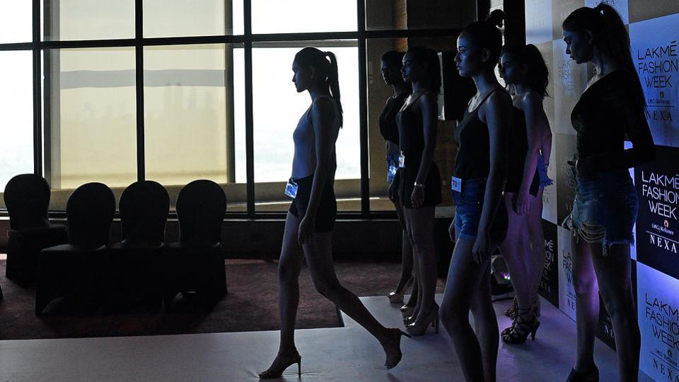 Models walk the ramp  during the auditions held at The St. Regis hotel in Lower Parel, Mumbai. (Satyabrata Tripathy/HT Photo)