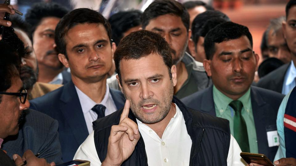 Congress president Rahul Gandhi at Parliament House, December 19, 2017