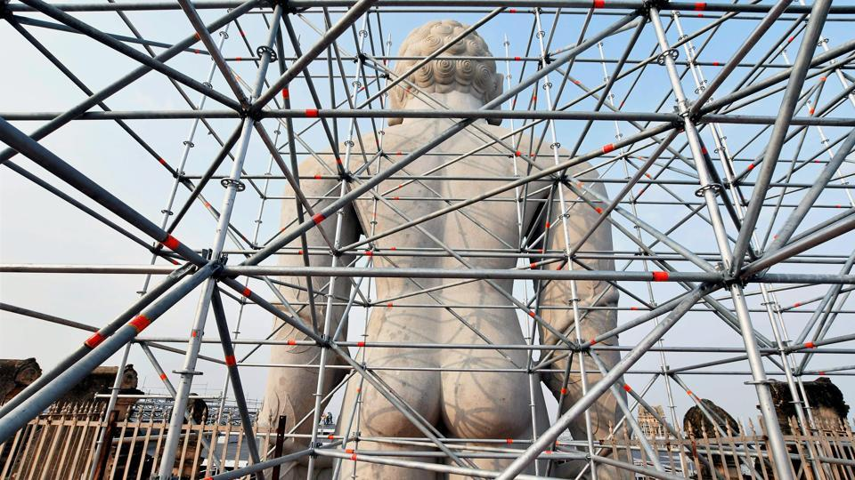 Out of the three lifts planned, one is exclusively for transporting materials to be used for the statue's holy bath, with the other two reserved for use by guests and visitors during the festival.  (PTI)