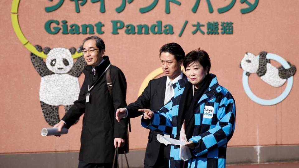"Panda diplomacy sometimes offers a touch of friendship to Sino-Japanese ties, often strained by the bitter legacy of World War Two. Wang Wan, the wife of Chinese ambassador Cheng Yonghua, joined Tokyo Governor Yuriko Koike (R) at an advance viewing. ""This year marks the 45th anniversary of the normalisation of ties between China and Japan. I think the birth of Shan Shan - pronounced Xiang Xiang in Chinese - is truly auspicious,"" Wang said. (Issei Kato / REUTERS)"