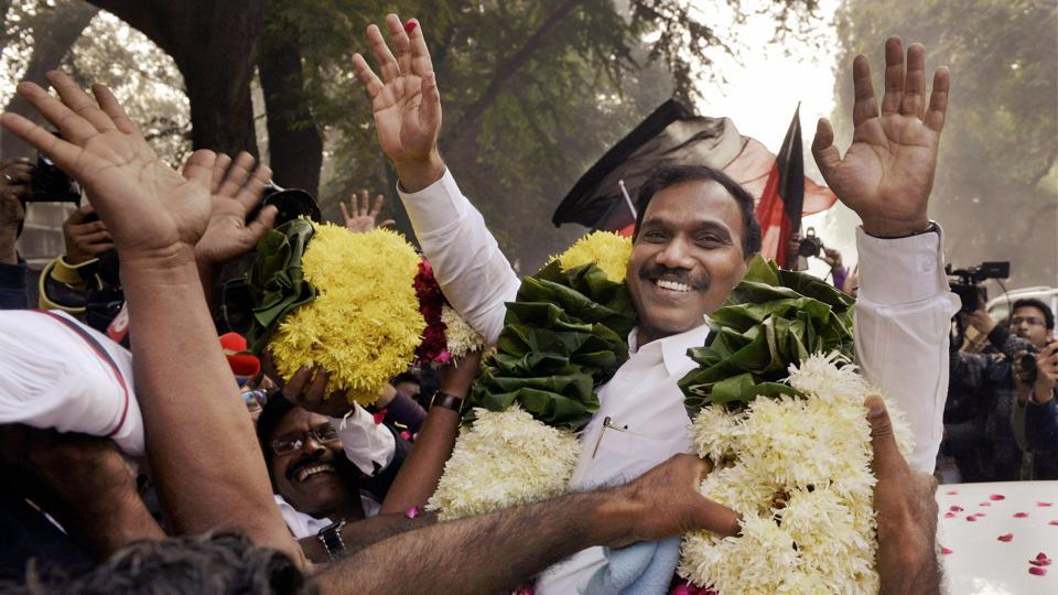 Former telecom minister A Raja being greeted by his supporters outside the Patiala House Courts in New Delhi after he was acquitted by a special court in the 2G scam case on Thursday.