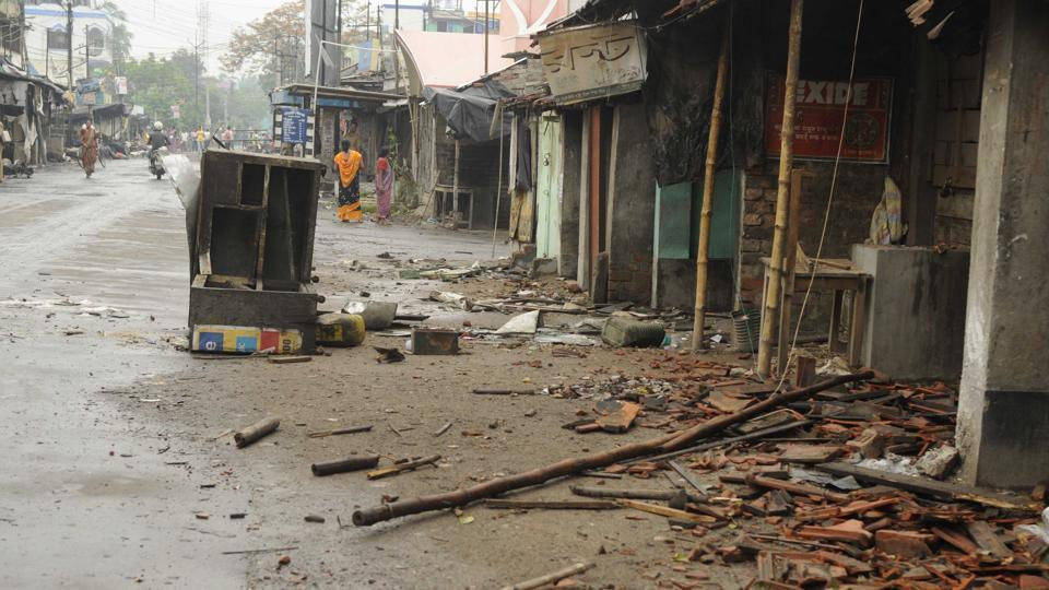File picture of shops vandalised during the communal flare up in North 24 Parganas district of Bengal in July 2017.