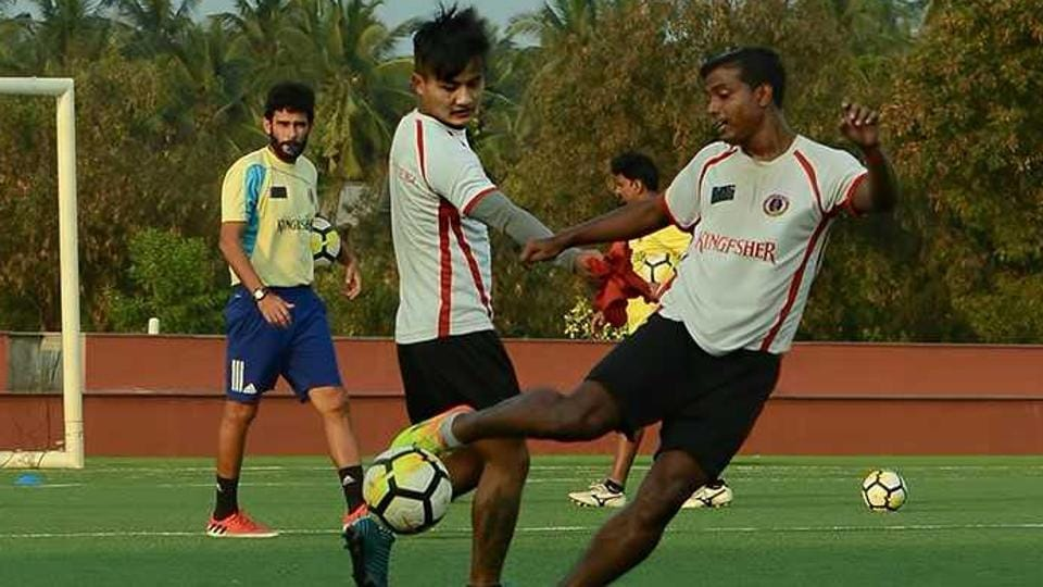 East Bengal F.C. players train at Coimbatore ahead of their I-League encounter with Chennai City FC.