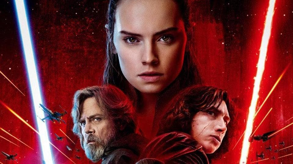 Daisy Ridley, Mark Hamill and Adam Driver as Rey, Luke and Kylo Ren in Star Wars: The Last Jedi