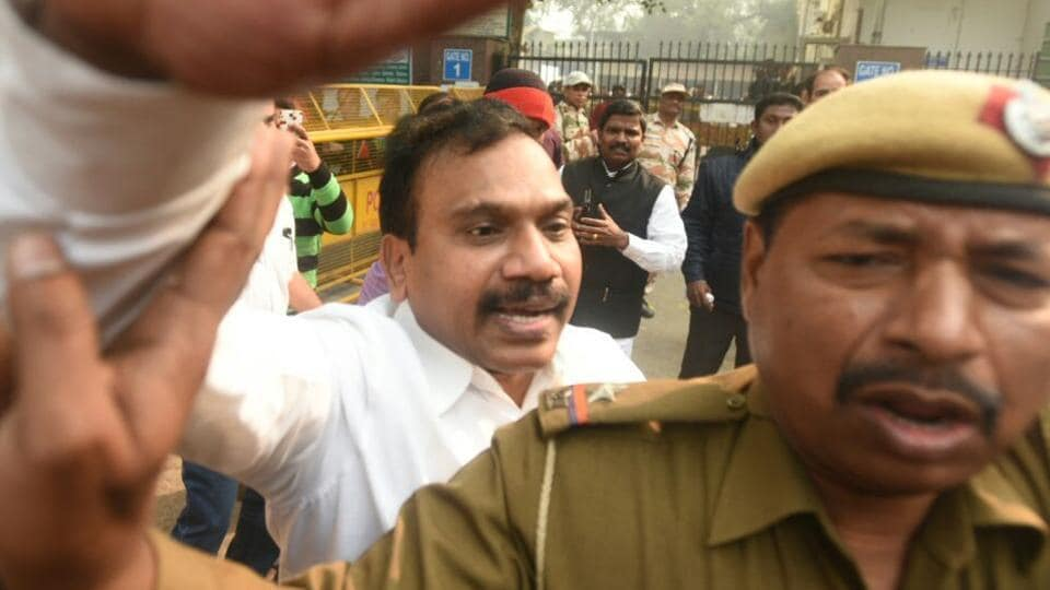Former telecom minister A Raja at the Patiala House court on Thursday.
