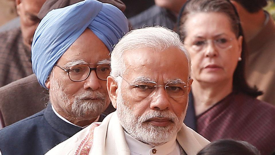 A file photo of Prime Minister Narendra Modi (centre) with his predecessor Manmohan Singh (left) and Congress leader Sonia Gandhi in New Delhi.