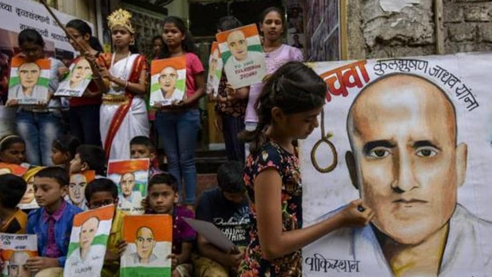Students of Gurukul school in Mumbai protest against the death sentence given to Kulbhushan Jadhav.