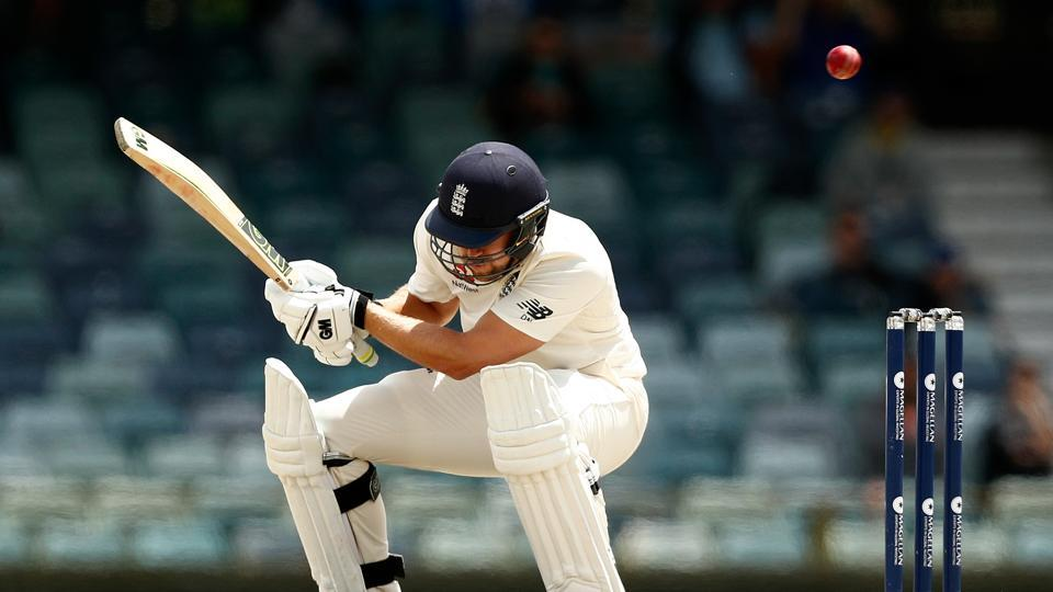 Dawid Malan of England cricket team takes evasive action to avoid a short-pitched delivery from Pat Cummins of Australia cricket team during day five of the Third Ashes 2017-18 Test at WACA in Perth on December 18.