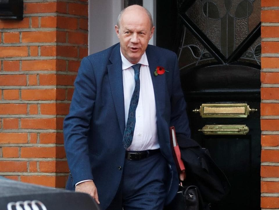 Damian Green, Britain's Prime Minister Theresa May's deputy, leaves his home in London, November 6, 2017.
